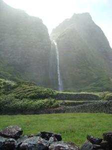 Waterfall in Fajã Grande, Flores Island